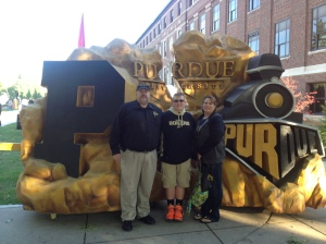 My wife, Hope and son, Heath enjoying Purdue's 2013 Homecoming!