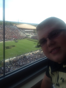 My son, Heath, enjoying Purdue's Homecoming from the Buchanan Club Compliments of the Purdue University Animal Science Department